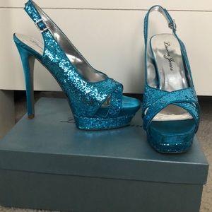 Shoes - Blue glitter open toed heels